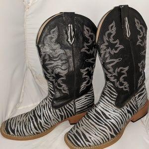 Women's Zebra Glitter Cowboy Boots